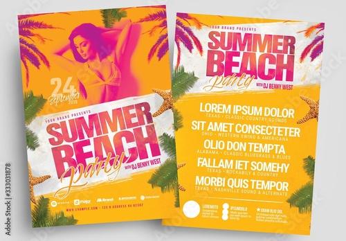 Obraz Summer Beach Party Flyer Layout - fototapety do salonu