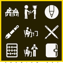 Set Of 9 School Filled Icons