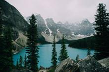 Crystal Clear Blue Lake Sits A...