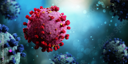 Obraz Coronavirus Covid-19 background - 3d rendering - fototapety do salonu