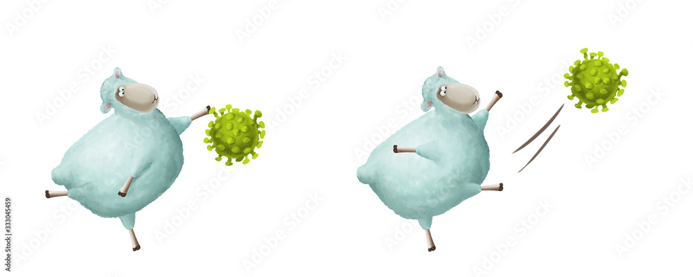 Fototapeta What to do if you have coronavirus. Positive illustration about health and immunity