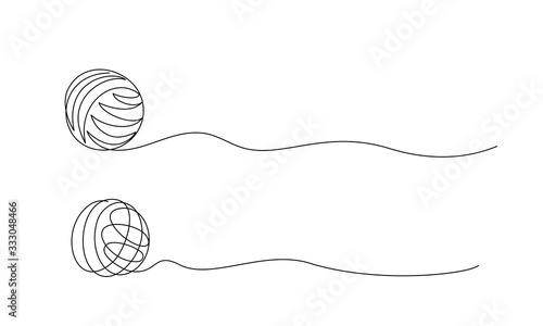 Fotografia, Obraz Clew ball of thread. Continuous one line drawing