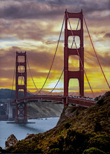 Golden Gate Bridge At Sunset O...