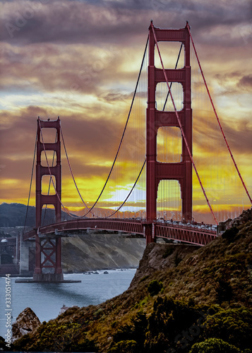 Golden Gate Bridge at sunset on a cloudy day looking as beautiful as always Canvas Print