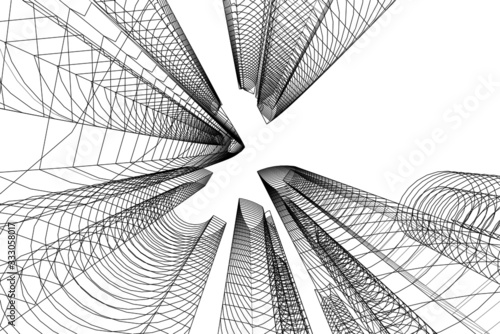Fototapeta abstract buildings, architectural drawing 3d obraz