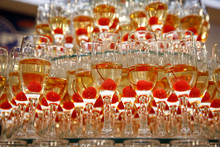 A Row Of Glasses With Champagn...