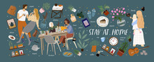 Stay At Home! Vector Cute Illu...