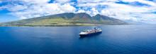 Cruise Ship Near Hawaii Mounta...