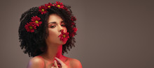 Beauty Afro Girl With Flowers ...