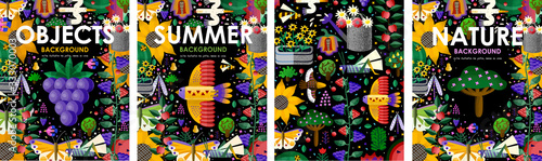 Summer time! Set posters of summer blooming flowers, juicy fruits, abstract birds, butterfly, garden and nature on black background. Vector illustration for banner, card, poster or postcard - 333070003