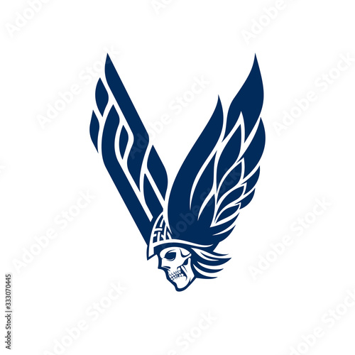 V for Viking logo. letter V and skull logo Canvas Print