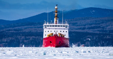 Canadian Coast Guard Ice Breaker CCGS Pierre Radisson In The Bay Of Gaspe.