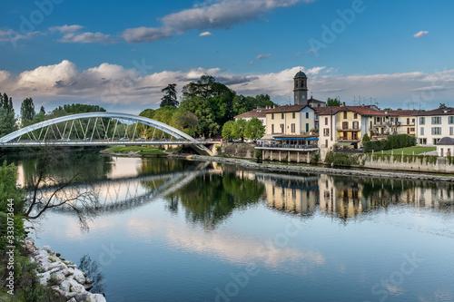 ponte sul fiume Adda Canvas Print