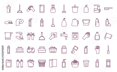 Fotomural Cleaning service items line style icon set vector design