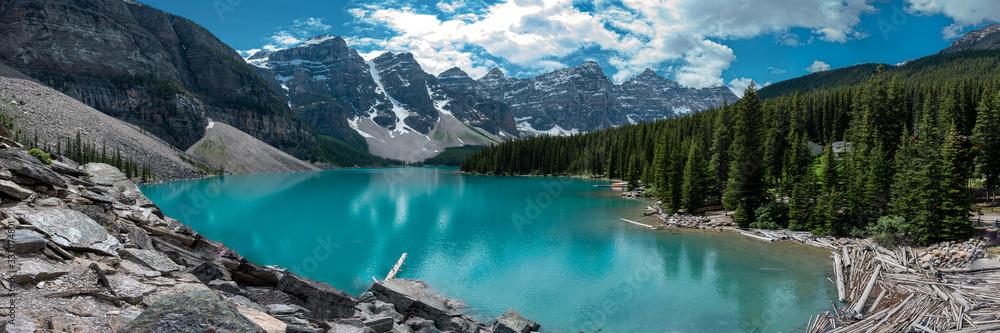 Fototapeta Panoramic view of Moraine Lake in Banff National Park, Canada. Summer in Canada.