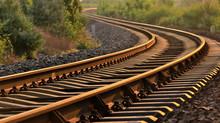 Closeup Of Railway At Sunset