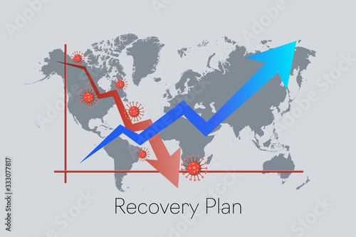 Fototapeta Recovery Plan from COVID-19 impact. Downward red arrow follow by upward blue arrow. Building back the economy business industries obraz