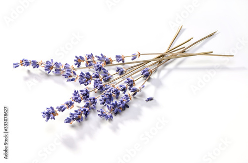 dried lavender flowers bunch  close-up on white background Fototapete