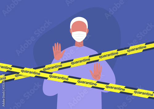 Fotomural Young male character wearing a protective mask behind the quarantine yellow tape