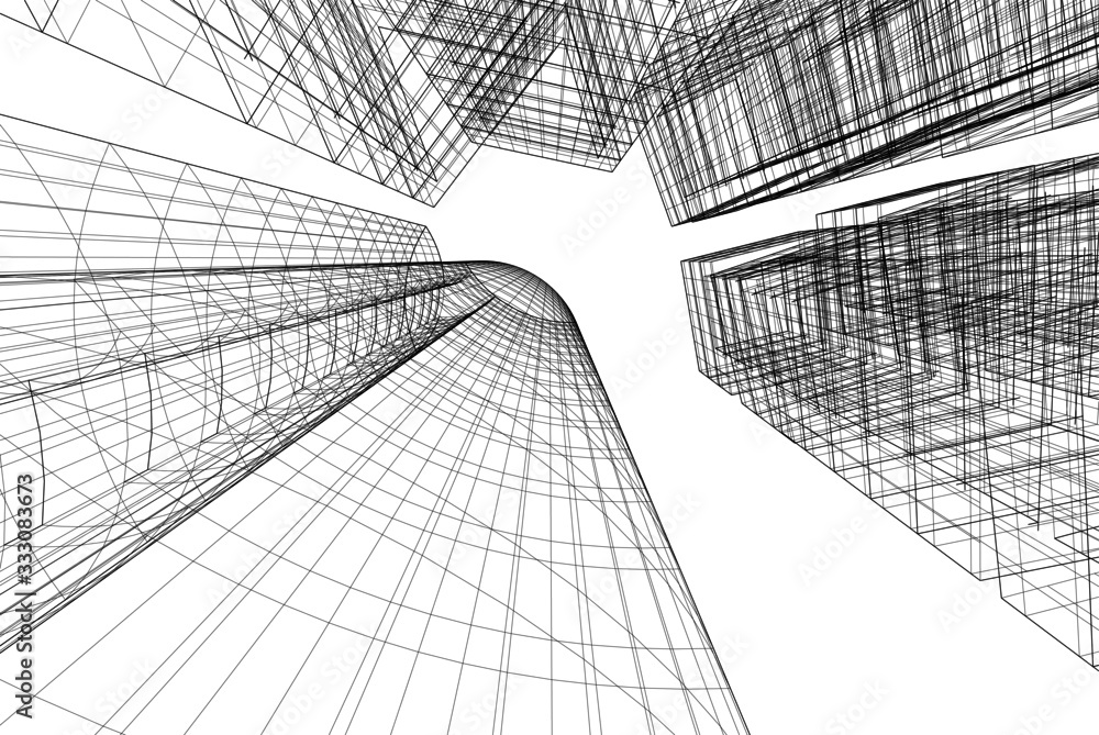 Fototapeta abstract buildings, architectural drawing 3d
