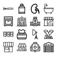Set Of 16 Inside Outline Icons