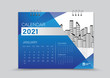 Desk Calendar 2021 Creative design can be place photo and logo, Week starts on Sunday, January Page vector for calendar 2021 template, Blue gradient background