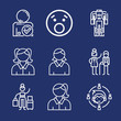 Set of 9 smile outline icons