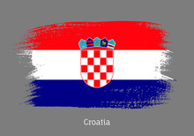 Croatia Official Flag In Shape Of Paintbrush Stroke. Croatian National Identity Symbol. Grunge Brush Blot Object Isolated On White Background Vector Illustration. Croatia Country Patriotic Stamp.