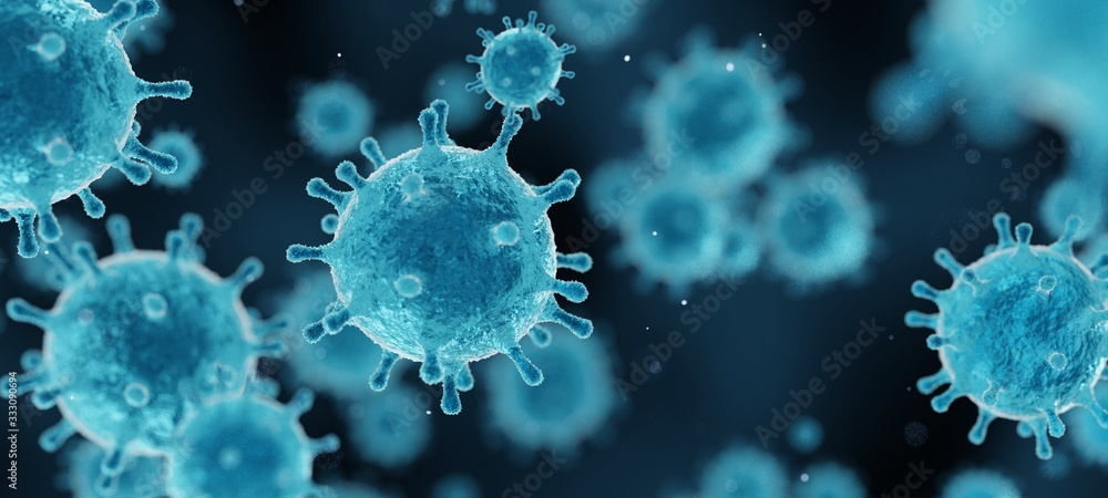 Fototapeta corona virus 2019-ncov flu outbreak, covid-19 3d banner illustration, microscopic view of floating influenza virus cells