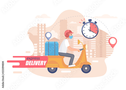 Fast,free and healthy scooter delivery concept Canvas Print