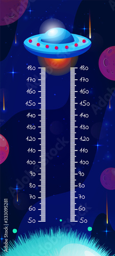 Cuadros en Lienzo Kids space height chart, cosmic wall meter with cartoon fantasy ufo and planets