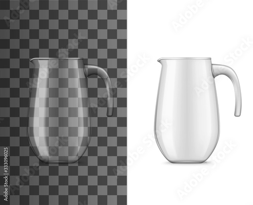 Foto Glass pitcher or jug for cold drinks realistic 3d vector design