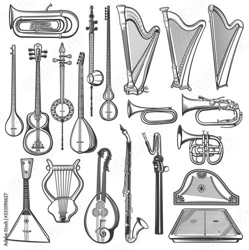 Musical instruments, vector sketch Wallpaper Mural