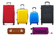 Travel Suitcases And Bags, Luggage Isolated Vector Of Tourism, Vacation Trip And Journey Design. Realistic Trolley Cases, Old Leather Briefcase And Hard Shell Upright Spinners With Handles, Wheels