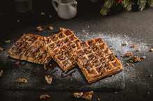 Belgian Waffles Topped With Wh...