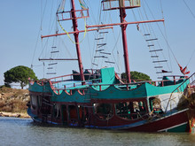 A Sunken Yacht Or Sailboat In ...