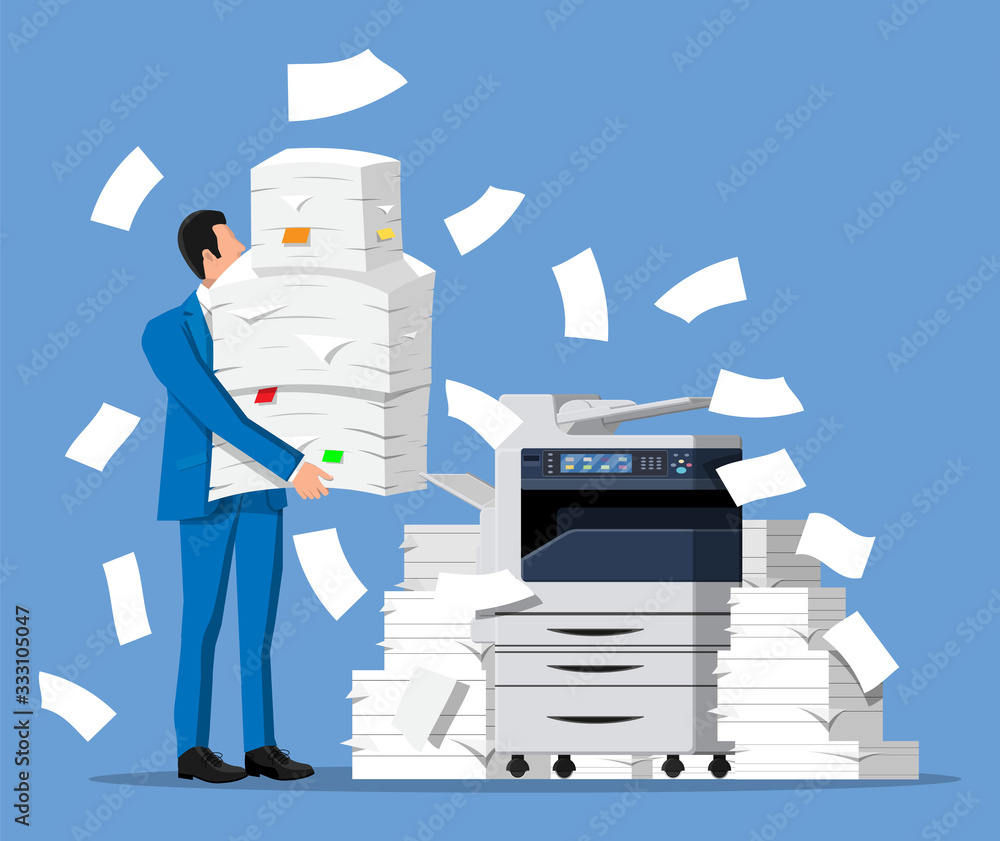 Fototapeta Stressed businessman holds pile of office documents. Overworked business man with stacks of papers. Office printer machine. Stress at work. Bureaucracy, paperwork, big data. Flat vector illustration