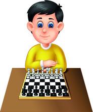 Cool Boy In Yellow Shirt Playing Chess Cartoon