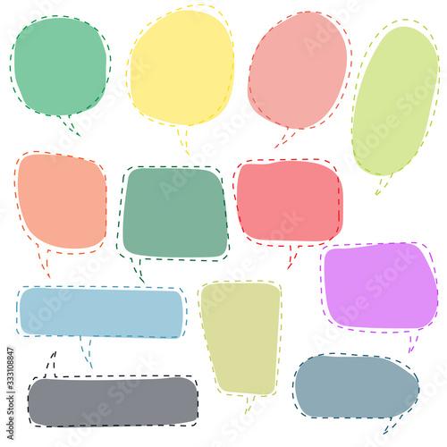 speech bubbles doodle set with accentuation Canvas Print