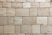 Texture Of Stone Wall, Square Yellow Travertine Tile.