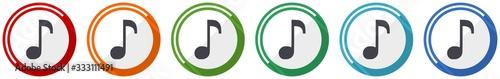 Fotografie, Obraz Music icon set, flat design vector illustration in 6 colors options for webdesig