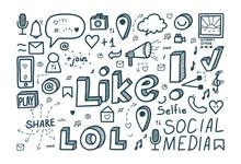 Social Media Doodle. Vector Il...
