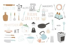 Kitchen Doodle Vector Icon Set. For Modern Recipe Card Template Set For Cookbook.