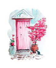 Watercolor Painting Of Vintage Old Door Sketch Art Illustration