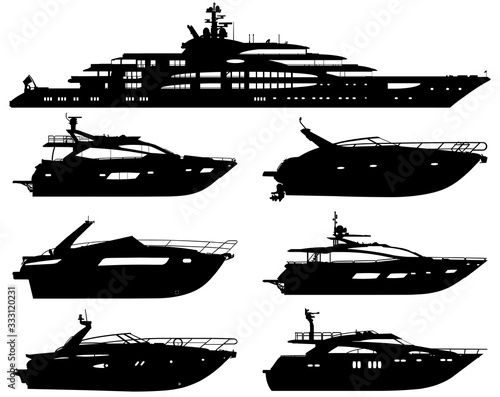 Group of silhouettes of motor yachts isolated on a white background.