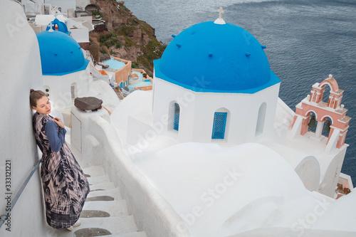 Fototapeta view of santorini island greece obraz