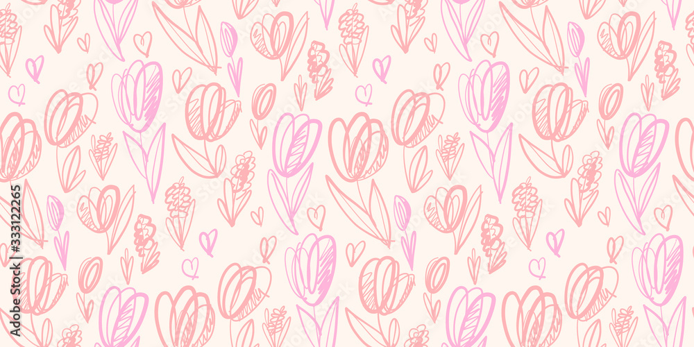 Sketch pale color spring tulip seamless pattern