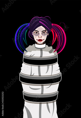 Vector illustration of a woman in cartoon style Wallpaper Mural