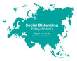 Eurasia map with Social Distancing stayathome tag