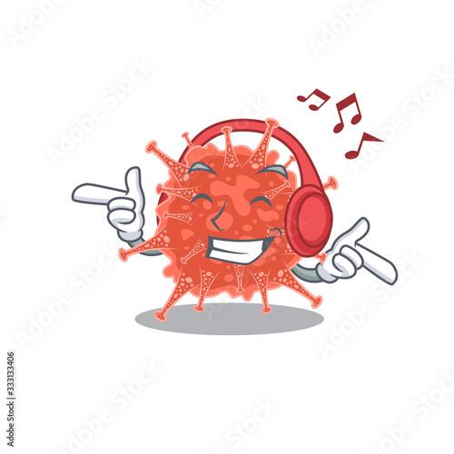 Photo enjoying music orthocoronavirinae cartoon in mascot design